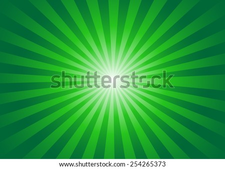 Green color burst background. Vector illustration - stock vector