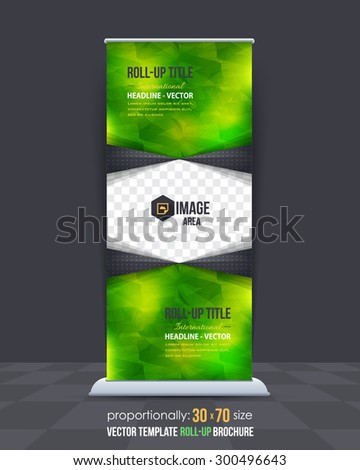 Green Colors Low Poly Style Shine Roll-Up Banner, Advertising Vector Background Design - stock vector