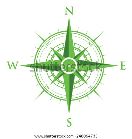 green compass - stock vector