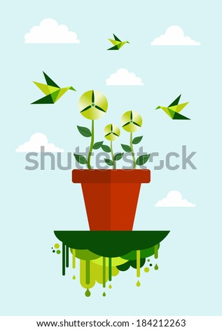 Green concept environment flower pot and wind turbine illustration. EPS10 vector file organized in layers for easy editing. - stock vector