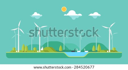 Green concept - wind energy - stock vector