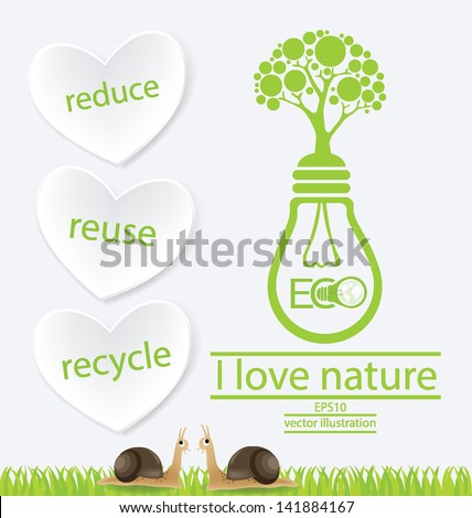 Green concepts. reduce reuse recycle. Lamp vector illustration. - stock vector