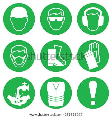Green Construction and manufacturing Industry Health and Safety Icon collection isolated on white background - stock vector