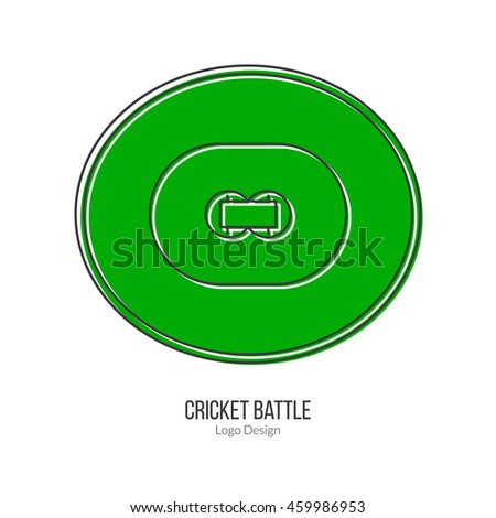 Green Cricket field. Single logo in modern flat and thin line style isolated on white background. Outline cricket game symbol. Simple mono linear pictogram. Stroke vector logotype template. - stock vector