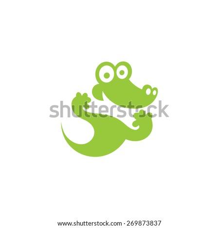 Green Crocodile icon. Vector Illustration. Branding Identity Corporate vector logo design template Isolated on a white background - stock vector