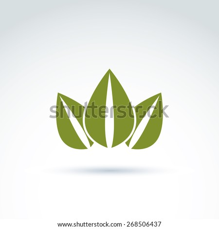 Green crown created from three leaves, vector ecology coronet. Eco symbol on planetary resources theme. - stock vector