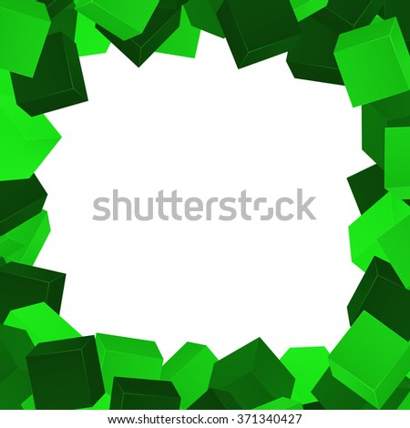 Green cubes composition.Background template.Vector cubes. - stock vector