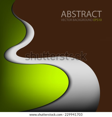 Green curve background with silver grey line on brown space overlap paper layer for text and message modern artwork design - stock vector