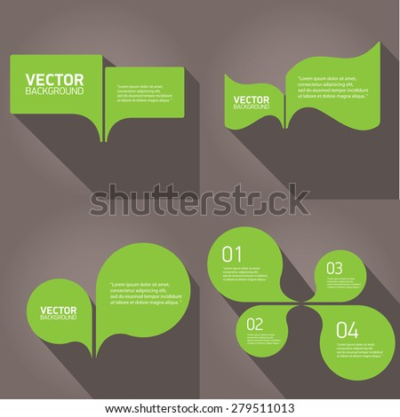 green cut paper speech bubbles on grey. speech bubbles set. vector illustration. - stock vector
