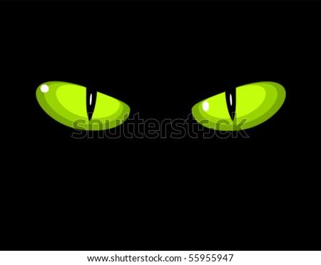 Green dangerous wild cat eyes in darkness - stock vector
