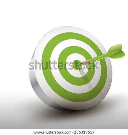 green dart hitting center of green dart board - stock vector