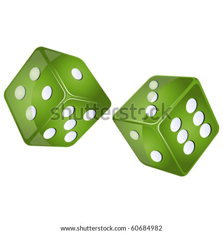 green dices, isolated objects against white background - stock vector