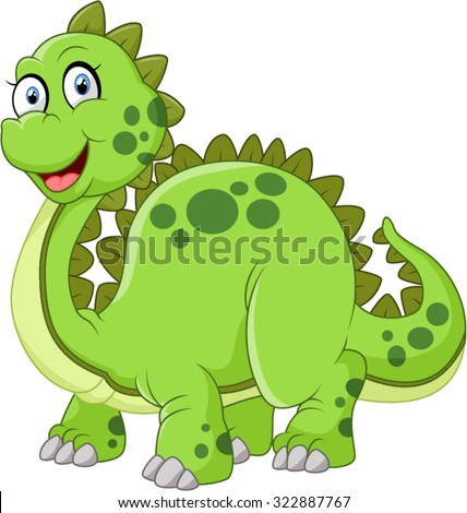 green dinosaur with spikes tail illustration - stock vector