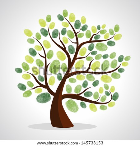 Green diversity tree finger prints illustration. Vector file layered for easy manipulation and custom coloring.   - stock vector