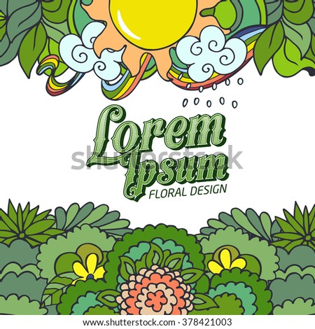 Green doodle card with floral composition, sun and flowers. Fresh stylish spring design for banners, greeting, advertisement, kids - stock vector