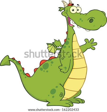 Green Dragon Cartoon Mascot Character Waving For Greeting. Vector Illustration Isolated on white - stock vector