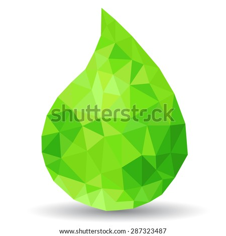 Green drop made from polygons - stock vector