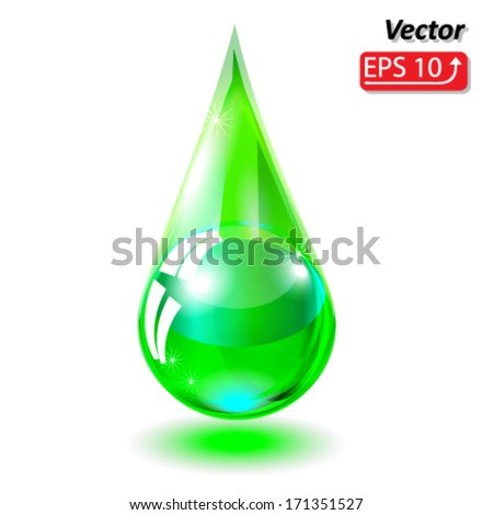 green drop of water isolated on white background vector - stock vector