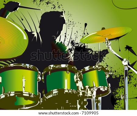 green drummer - stock vector