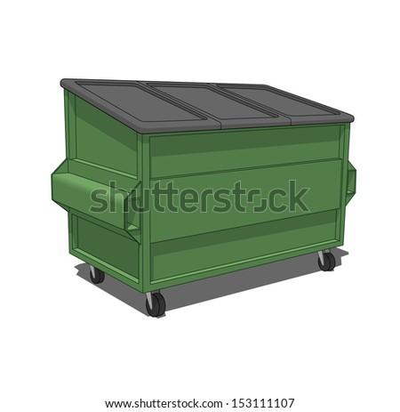 Green dumpster - stock vector