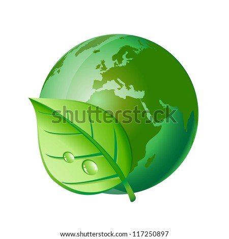 Green earth and leaf. Ecology concept. - stock vector