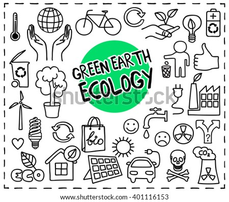 Green Earth Ecology doodle set. Hand drawn eco graphic elements: hands holding planet Earth, energy saving light bulb, eco solar panel, factory air pollution, recycle bio symbols. Vector illustration - stock vector