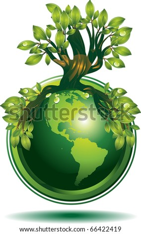 Green Earth Green Earth concept. Only gradients were used for coloring. - stock vector