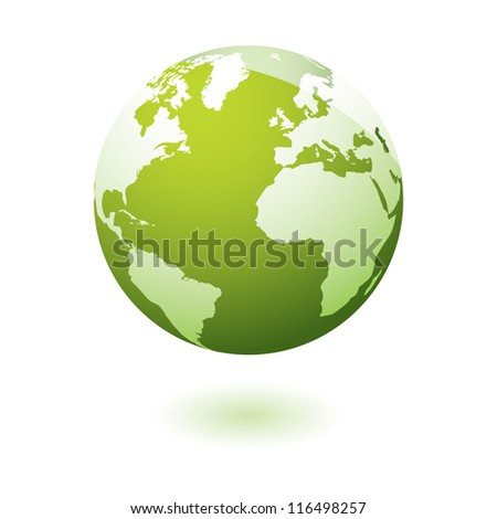 Green earth icon with eco theme - stock vector