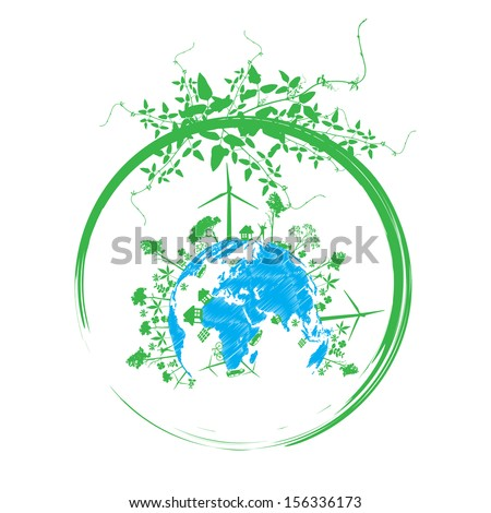 Green earth with   reduce CO2 - stock vector