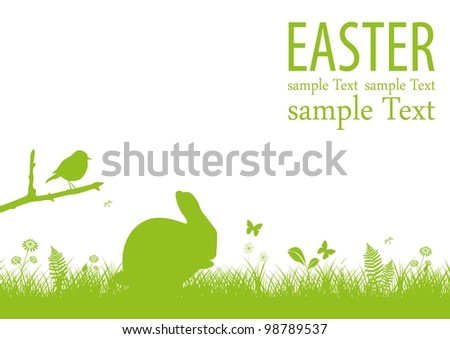 Green easter background - stock vector