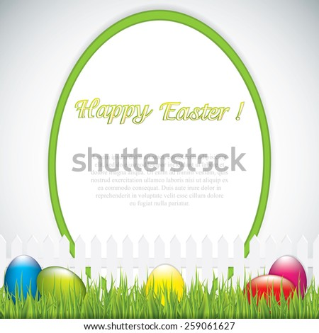 Green Easter greeting card template.Vector - stock vector