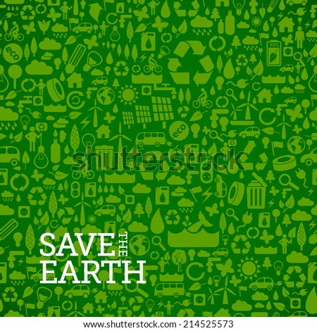 green eco background made of small ecology icons - vector seamless pattern - stock vector