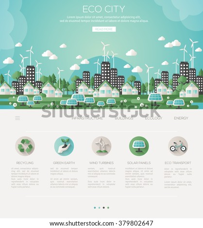 Green eco city and sustainable architecture banner. Vector illustration. Buildings with solar panels and windmills. One page web design template with flat eco icons. Concept of Eco Technology. - stock vector