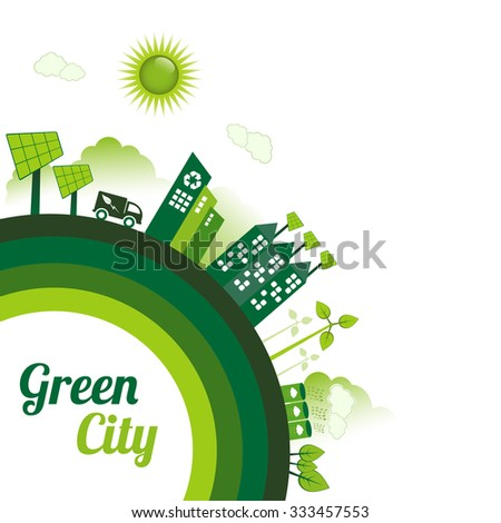 Green Eco city living concept with copy space. - stock vector