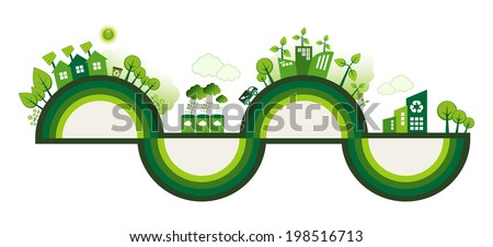 Green Eco city living concept with copy space for your text. - stock vector