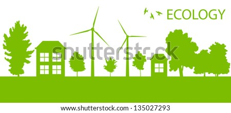 Green Eco city or village ecology vector background concept - stock vector