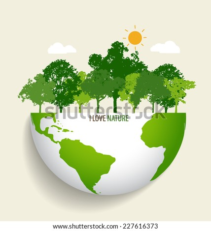 Green Eco Earth. Vector Illustration. - stock vector