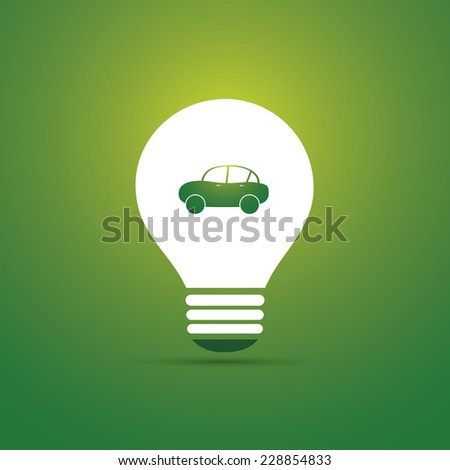 Green Eco Energy Concept Icon - Electric Car - stock vector