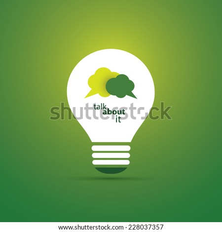Green Eco Energy Concept Icon - Talk About Sustainable Development - Speech Bubble Inside a Shiny Bright Lightbulb - Vector Clip-Art Template - stock vector