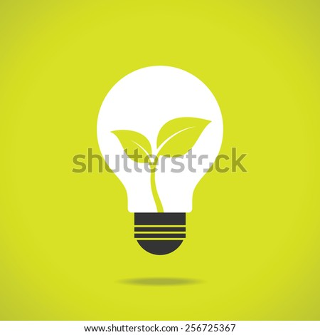 Green eco energy concept, plant growing inside the light bulb. - stock vector