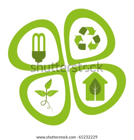 Green eco friendly design elements - energy saving light bulb, recycle symbol, green seedling, green house. - stock vector