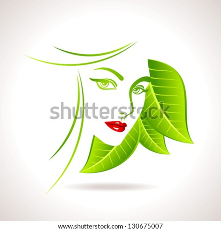 Green eco friendly icon with women face - stock vector