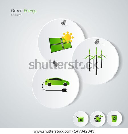 Green eco/ green energy / stickers  - stock vector