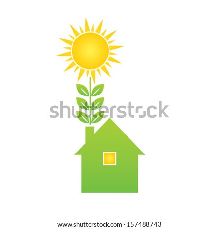 Green eco house - stock vector