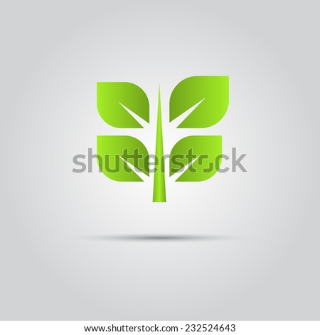 green eco leaves vector logo - stock vector