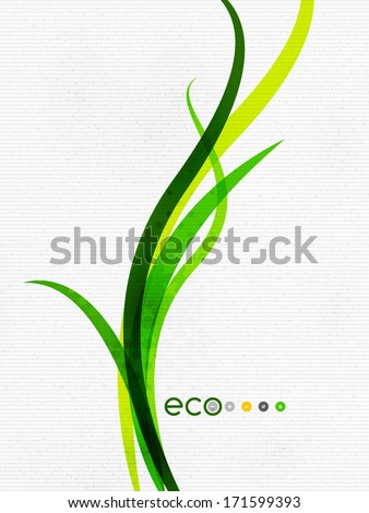 Green eco nature minimal floral concept | flying leaves | nature flying leaves template - stock vector