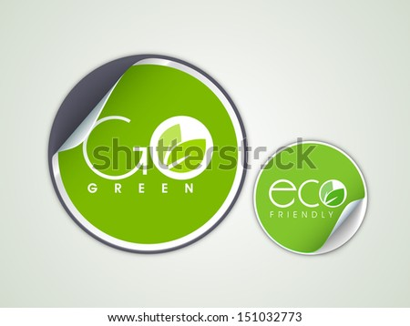 Green eco stickers, tags or labels. - stock vector