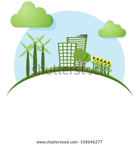 green eco town - abstract ecology town - stock vector