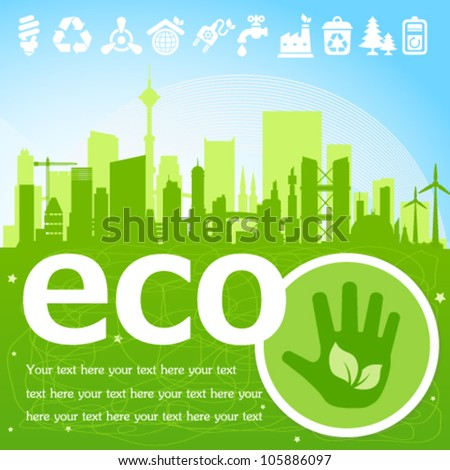 Green eco town placard with icons. Image contains transparency, EPS10 - stock vector