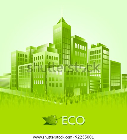 Green eco town suitable for ecologic purposes - stock vector